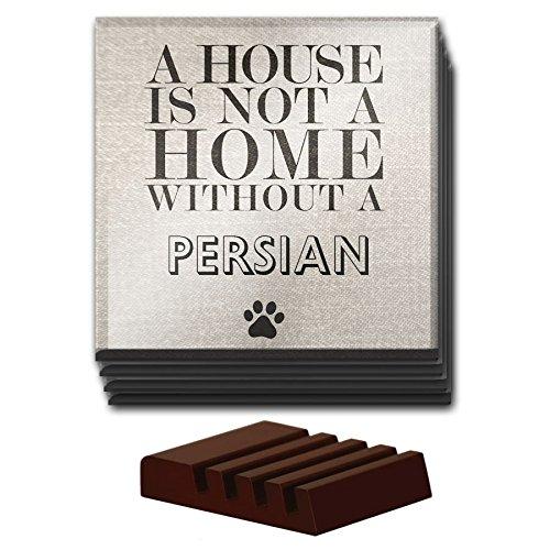 Persian Home Decor (Set von 4A House Is Not A Home Without A Persian Glas Untersetzer Katzen 185)