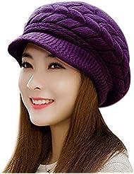 VICWARM Invierno caliente lana Beanie sombrero con visera y sombreros de punto para las niñas
