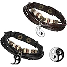 Flongo 2 Piezas pulseras para parejas enamorados, Yin Yang Tai Chi colgantes negro blanco, Pulseras tribal de cuero trenzadas, buen regalo de San Valentin/Navidad