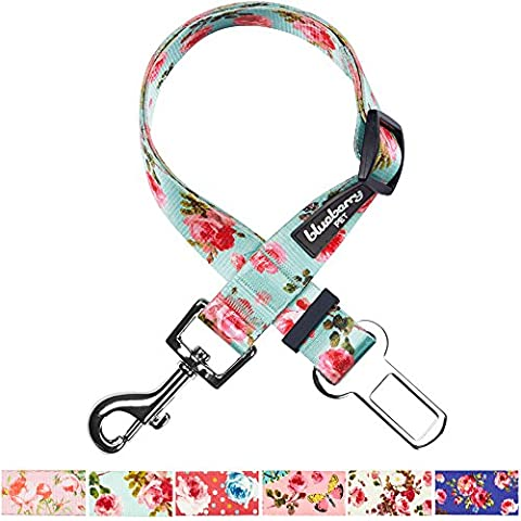 Blueberry Pet Spring Scent Inspired Floral Rose Print Turquoise Adjustable Dog Seat Belt Tether for Dogs Cats, Durable Safety Car Vehicle Seatbelts Leads Use with
