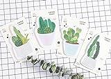 Lot de 4pense-bête adhésifs mignon motif cactus Kawaii, papier mémo, fourniture de bureau.