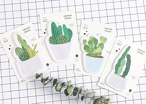 Set di 4 simpatici blocchi di foglietti adesivi per appunti, tema Cactus