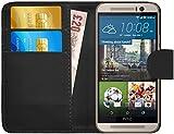 GizzmoHeaven HTC One M9 Leder Hülle Schutzhülle Tasche mit Karte Halter Klappetui Flip Case Cover Etui Brieftasche für HTC M9 mit Schutzfolie und Stylus Stift - Schwarz