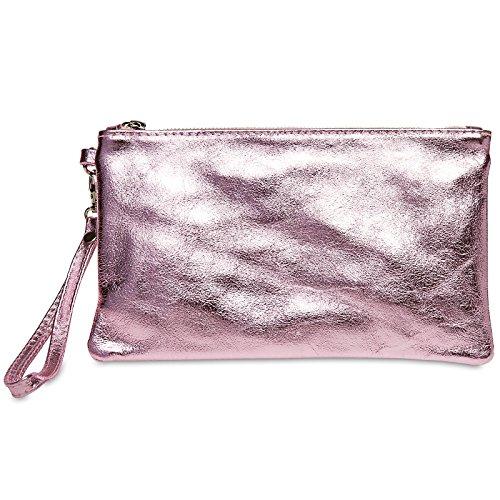CASPAR TL717 Damen Leder Clutch, Farbe:rosa metallic;Größe:One Size - Schwarz Metallic Tasche Handtasche