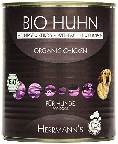 Herrmanns Bio Hundefutter Huhn Menu 2 mit Hirse, Kürbis, Zucchini 800 g, 6er Pack (6 x 800 g)
