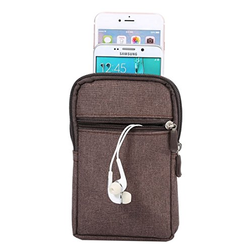 DFV mobile - Universal Multi-functional Vertical Stripes Pouch Bag Case Zipper Closing Carabiner for =>      IPHONE 5C A1529 > Black (17 x 10.5 cm) Brown (17 x 10.5 cm)