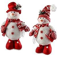 WeRChristmas–Figura Decorativa de pie decoración de Navidad muñecos de Nieve, 33cm, Color Rojo/Blanco, Juego de 2