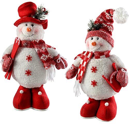 WeRChristmas–Figura Decorativa de pie decoración de Navidad muñecos de Nieve, 33cm, Color...