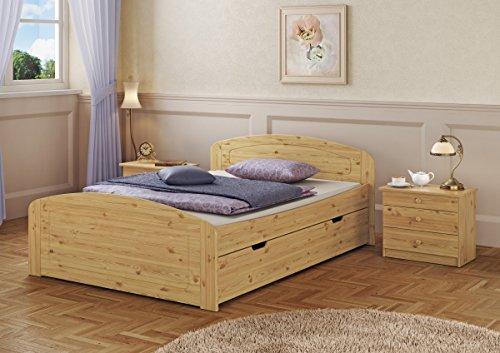 Erst-Holz® Funktionsbett Doppelbett 3 Bettkästen 160×200 Seniorenbett Massivholz Kiefer Natur 60.50-16 or