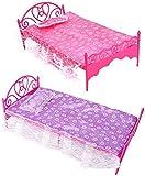 Bluelans® 1 x Beautiful Plastic Bedroom Furniture Bed Set for Barbie Dolls Dollhouse (Random Color)