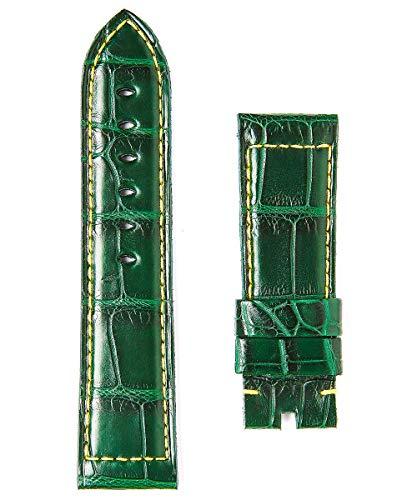 Cinturino in pelle verde Alligator 24 mm stile Panerai