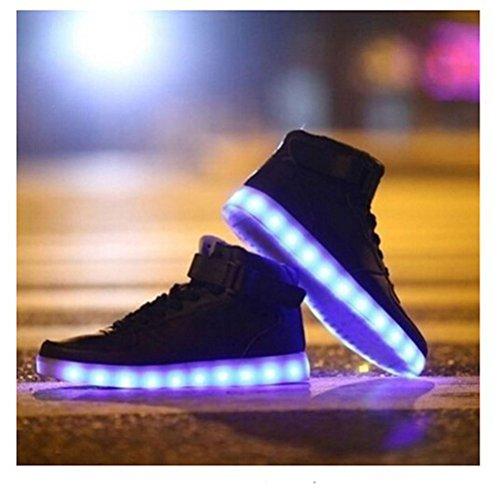 (Présents:petite serviette)JUNGLEST® de Couleur Mode Hith-Top Unisexe Homme Femme USB Charge LED Lumière Lumineux Clignotants Chaussures Noir