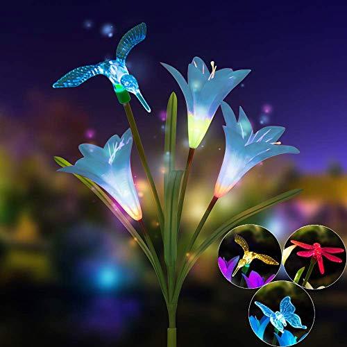 Mitlfuny Weihnachten Home TüR Dekoration 2019,Lily Flower Solarbetriebenes Garten-Stake-Licht Mehrfarbiges LED-Licht