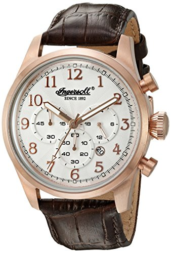 Ingersoll Quartz Men's Quartz Watch with Silver Dial Chronograph Display and Brown Leather Strap INQ041SLRS