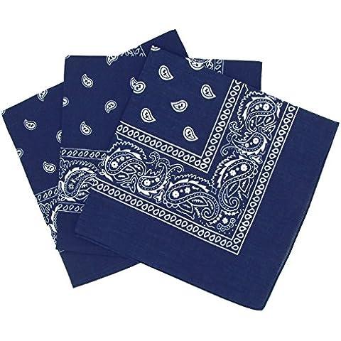 Set di 3 bandanas paisley in cotone, modello cachemire