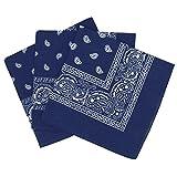 Lot de 3 bandanas paisley - Foulard coton motif cachemire vendu par 3 - Bleu Marine - taille unique