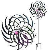 Multistore 2002 Doppel Windrad bunt mit Standstab inkl. Erdspieß H208cm Metall Windmühle Windspiel Gartendekoration