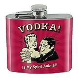 Wodka is My Spirit Trinkflasche mit Tiermotiv, Edelstahl, 142 ml