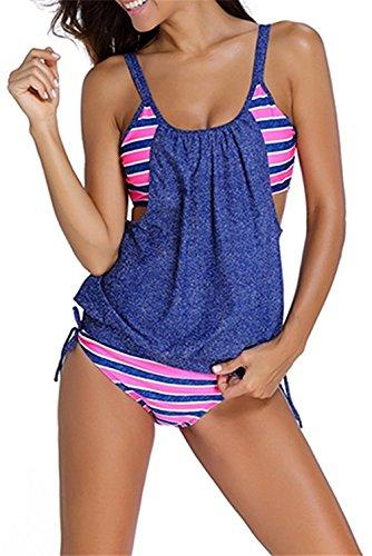 Kfnire le righe delle donne allineate raddoppiano le serie di costumi da bagno tankini (xl, 4 blu)