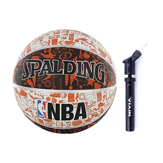 Spalding Basketball Graffiti Multicolor Combo (Spalding NBA Graffiti, Size 7,Multicolor + Nivia Ball Air Pump)