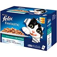 Purina Felix Fantastic Festín Gelatina comida para gatos Selección Surtido de Pescados 12 x 100 g