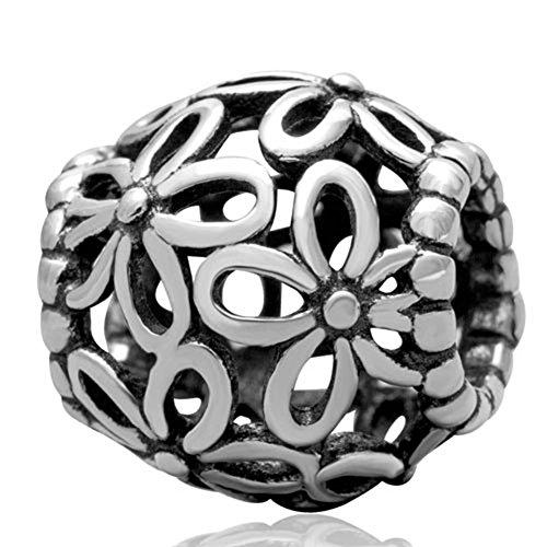 Traforata Soulbead fiori selvatici, a forma di cuori, in argento Sterling 925 per braccialetto compatibile con perle europee