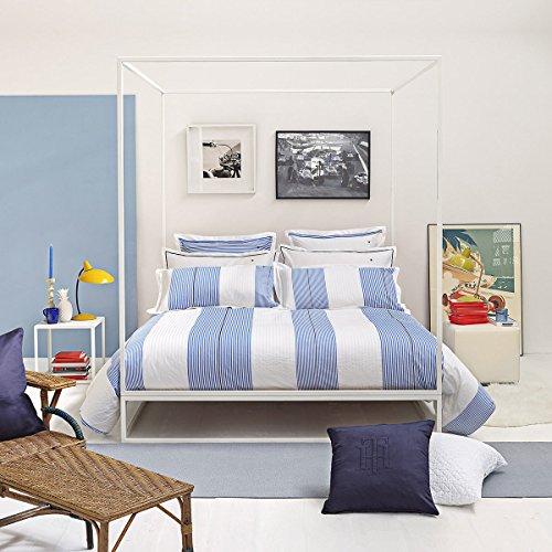 l Bettwäsche Weiß und Blau gestreift 1 Bettbezug 135x200 cm + 1 Kissenbezug 80x80 cm ()