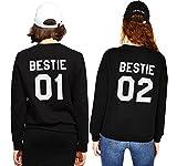 Best Friends Pullover Für Zwei Mädchen Set Bestie Sweatshirt Pullis BFF Mädchen Teenager Weiß Hoodie Damen Buchstaben Schwester Geschenk 2 Stücke(Schwarz,bestie-01-L+bestie-02-XL)