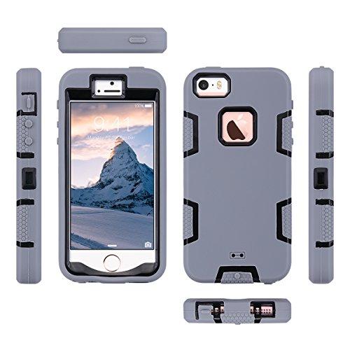 iPhone 5s SE Hülle, ULAK iPhone 5S Case 3in1 Stoßfest Hybrid High Impact Hart PC und Weiche Silikon Schutzhülle Tasche Case Cover für Apple iPhone 5/5S/SE (Schwarz+Lila) Grau + Schwarzes