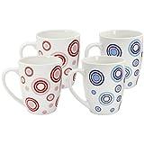 COM-FOUR® 4x Kaffeebecher farbig mit Kreisen, Kaffeepott aus Keramik, bauchige Form, bis zu 325 ml (4er Kreise blau/rot)