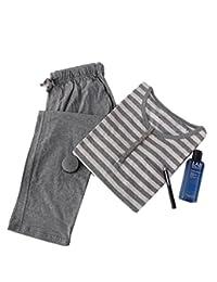 Lanker KJ17P - Conjunto de Pijama de Manga Corta para Hombre, Diseño de Rayas, Gris, X-Large