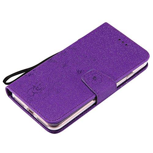Abnehmbare 2 in 1 PU + TPU Leder Tasche Präge Blumen Stil Glänzende Scheine Brieftasche Stand Case Cover mit Kreditkarte Slots & Lanyard & Magnetic Closure für iPhone 7 Plus ( Color : Rosegold ) Purple