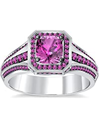 Silvernshine 4Ct Asscher Cut Pink Sapphire CZ Dimoands 14K White Gold PL Engagement & Wedding Ring