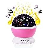 Sterne Mond Projektor Nachtlicht, Kosmos Sterne Sky Moon Schlaf Nachtlicht Lampe mit romantische Musik, USB Lade 360 Grad Rotierenden Rundleuchte, Dekoration Beleuchtung, für Kinder Baby Schlafzimmer Kindergarten großes Geschenk (Pink)