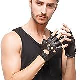Nappaglo Herren Lederhandschuhe für fahren italienisches Lammfell Halbfinger Fingerlose Ungefüttert Motorrad Radfahren Handschuhe (M (Umfang der Handfläche:20.3-21.6cm), Schwarz)