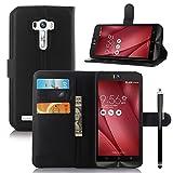 Owbb Flip Housse Étui Coque de protection en PU cuir pour Asus ZenFone Selfie ZD551KL (5.5 pouce) Smartphone -Noir