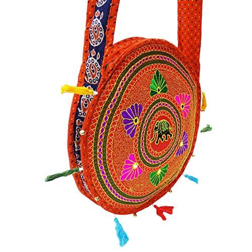 Hmong Grande Tote Bag Ricamata Trasportare La Borsa Sulle Spalle Delle Donne Nuova Borsa Indiana Arancia-A