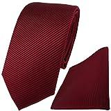 TigerTie Krawatte + Einstecktuch in bordeaux dunkelrot fein gestreift