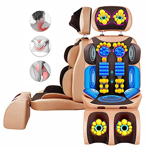 CHUDAN Shiatsu-Massagesitzauflage mit Fußmassage und Wärmefunktio, Vibration Rückenmassagegerät mit höhenverstellbarer Nackenmassage für Nacken, Rücken und Beine gegen Müdigkeit und Schmerzen -