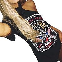 LILICAT Mujeres Rock Estilo Camiseta Larga Vintage De Hombro Mini Vestido (S)