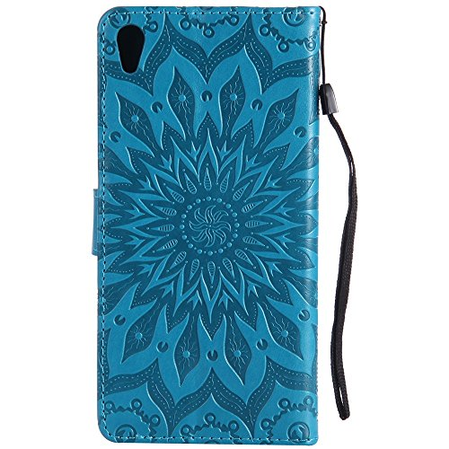 Für Sony C6 Fall, Prägen Sonnenblume Magnetische Muster Premium Soft PU Leder Brieftasche Stand Case Cover mit Lanyard & Halter & Card Slots ( Color : Gray ) Blue