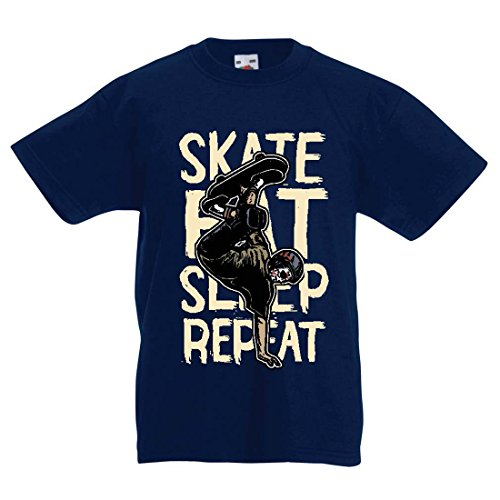 Kinder T-Shirt Eat-Sleep-Skate-Repeat Fro Skateboard Liebhaber, Skateboarder Geschenke, Skateboarden Kleidung (12-13 Years Dunkelblau Mehrfarben)