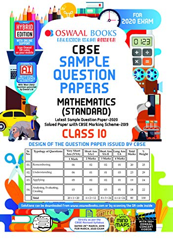 Oswaal CBSE Sample Question Paper Class 10 Mathematics Standard (For March 2020 Exam)