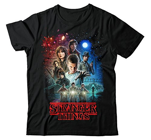 STRANGER THINGS NETFLIX MOVIE POSTER BLACK UNISEX T SHIRT