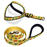 #8: Kanopi Imported Padded Harness and Leash Set 20mm Printed Yellow For Medium Dogs