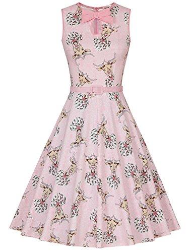 MUXXN Damen Retro 1940er Audrey Hepburn Rosa ärmellos Freizeit Swing Kleid(M, Deer Pink)