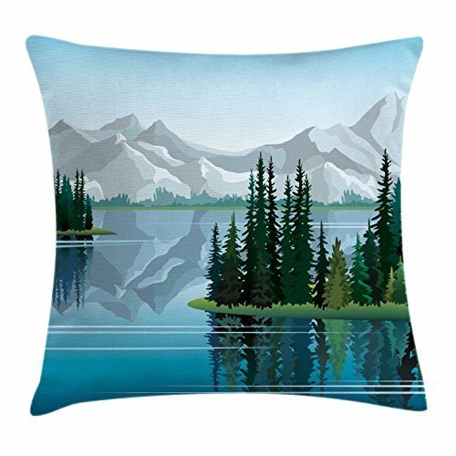 Sweet grape River Throw Pillow Cushion Cover, Idyllic Mountain with Set of Pine Trees Reflection in Calm Clear Water, Decorative Square Accent Pillow Case, 18 X 18 Inches, Blue Pale Grey Dark Green - Cover-pine Trees