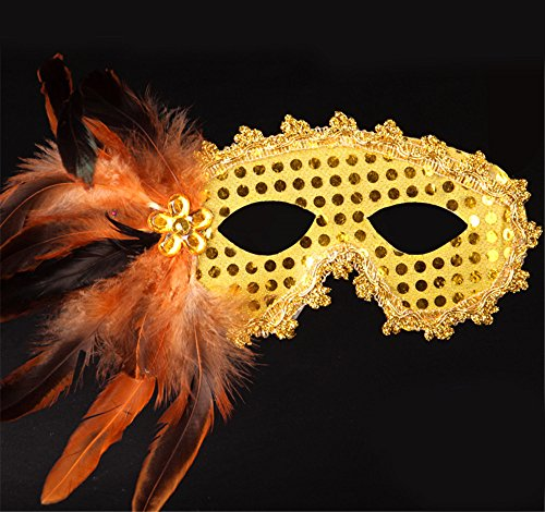 Halloween Maske Make-up Tanz Show Party Schönheit Prinzessin Masken Gemalte Federn,Golden (Party Animal Kostüm Make Up)