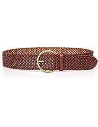 ERLINGSAN-YD Cinturón de Mujer Exquisita Tejer cinturón Ancho de Moda Adorno Vestido Cintura Sello Cien Vueltas Moda Marrón