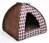 nanook Katzen-Höhle Hunde-Höhle MYKESCH, Größe L 48 cm mit Kissen, waschbar, braun kariert